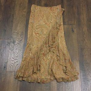 Ralph Lauren paisley ruffle silk boho maxi skirt